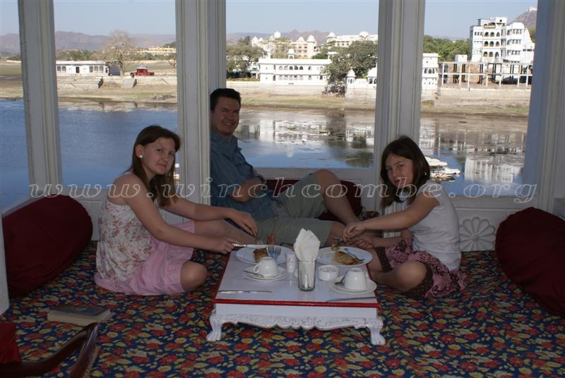 relaxing in the Jagat Niwas Palace Hotel